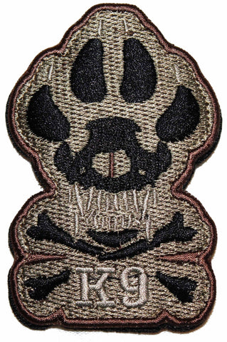 Brown / Black Skull and Bones K9 Patch - 2 Pack