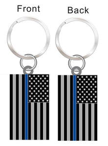 Thin Blue Line US Flag Key Chain