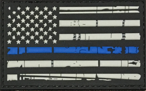 Distressed US Flag Thin Blue Line PVC Patch