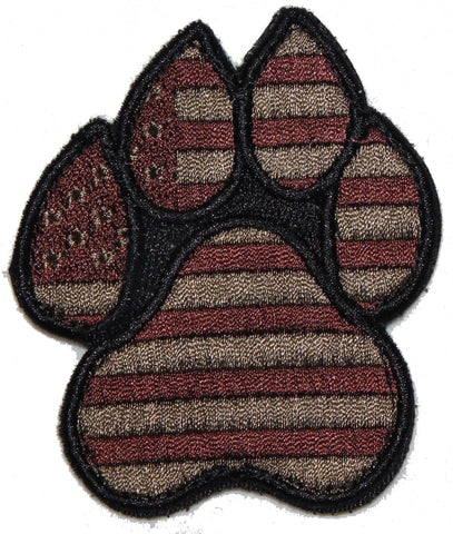 Image of American Flag Brown K9 Paw - 2 Pack