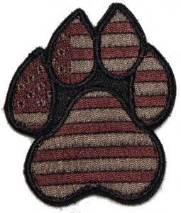 American Flag Brown K9 Paw - 2 Pack