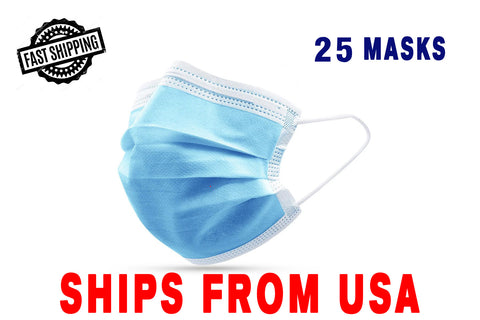Image of 3ply Disposable Personal Protective Face Mask 25/50