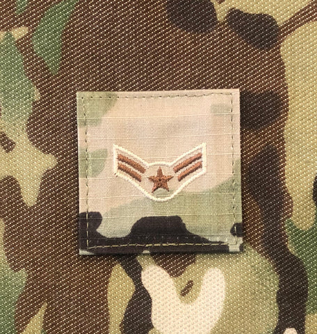 Air Force OCP Rank with hook - Airman First Class (A1C/E3) - 2 pack