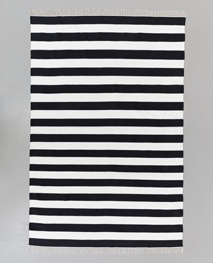 Dakota Cotton Stripe Rug Black & White - Maissone