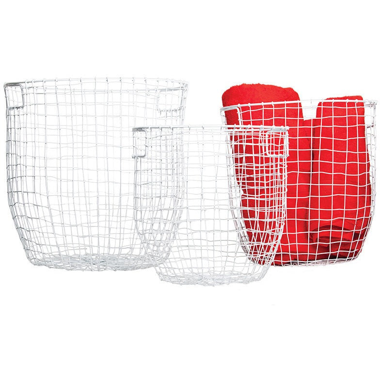 Round Wire Basket White Sm - Maissone