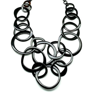 Horn Chain Necklace Black Lg