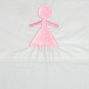 Flat Sheet Embroidered Pink Doll
