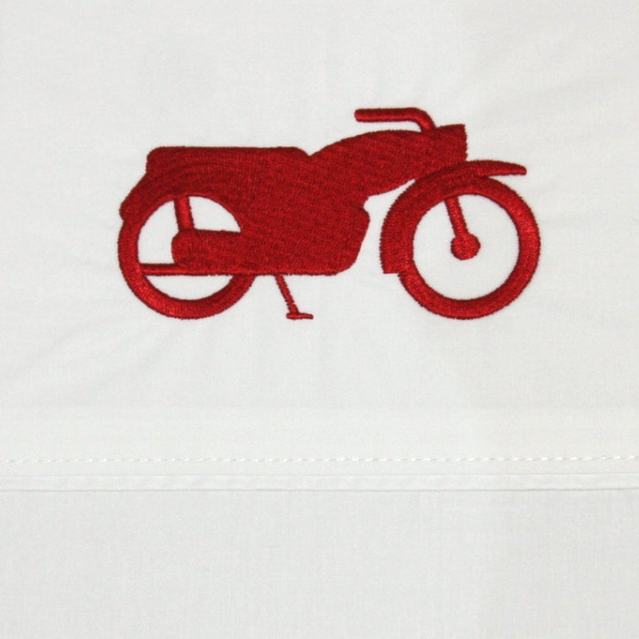 Flat Sheet Embroidered Motorbike