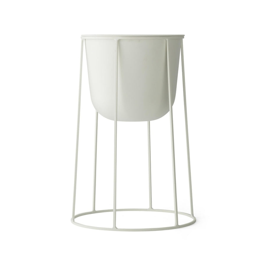 White Wire Pot and Stand Medium