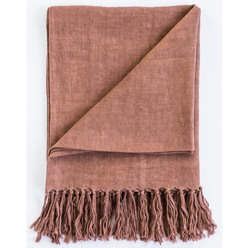Luca Linen Throw with Tassles180x140cm Desert Rose