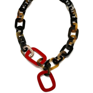 Horn & Lacquer Chain Necklace Red - Maissone