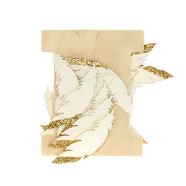 White Paper Feather w Gold Glitter - Maissone