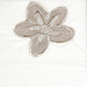Flat Sheet Embroidered Natural Flower - Maissone