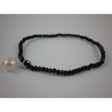 Bracelet With 2Mm Crystal With Single Drop Pearl - Black - Maissone