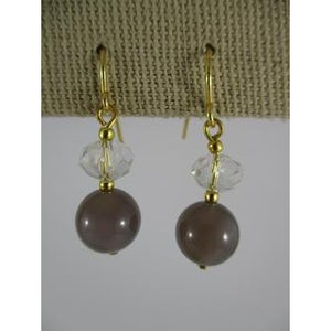 Earring With Crystal & Stone Ball Drop With Gold Hook - Grey - Maissone