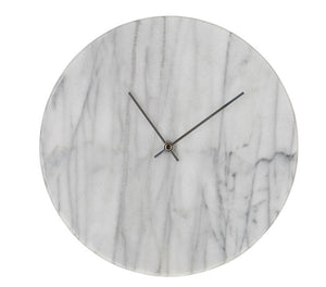 Marble Clock with Silver Hands
