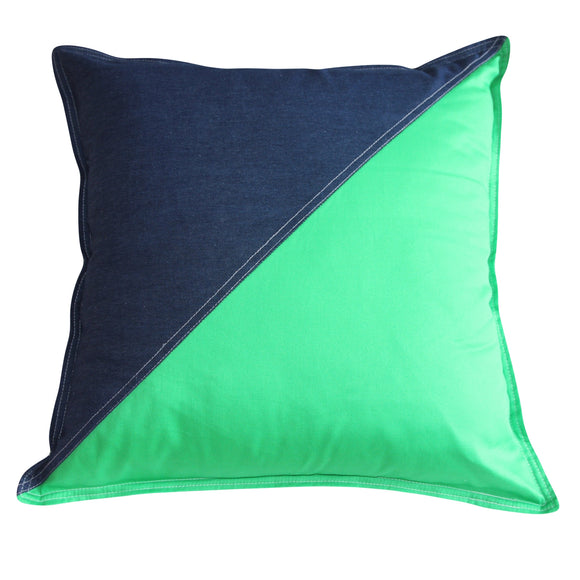 Cushion Denim & Green Triangle - Maissone