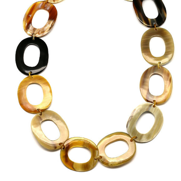 Horn Oval Chain Necklace Natural - Maissone