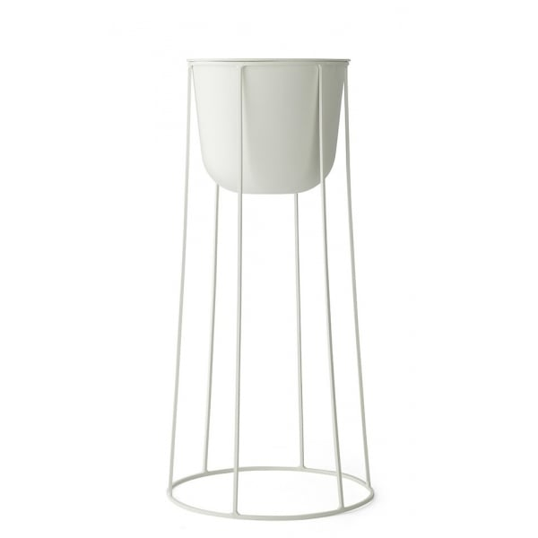 White Wire Plant Stand and Pot Large