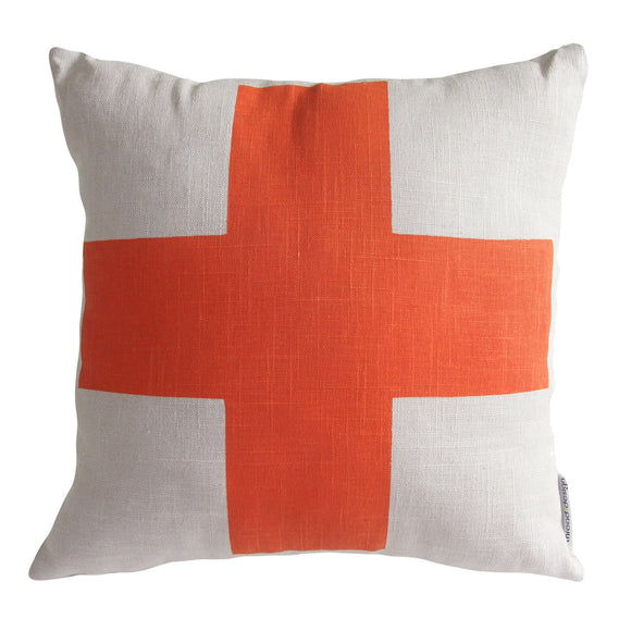 Cushion Orange Cross/Natural Linen - Maissone