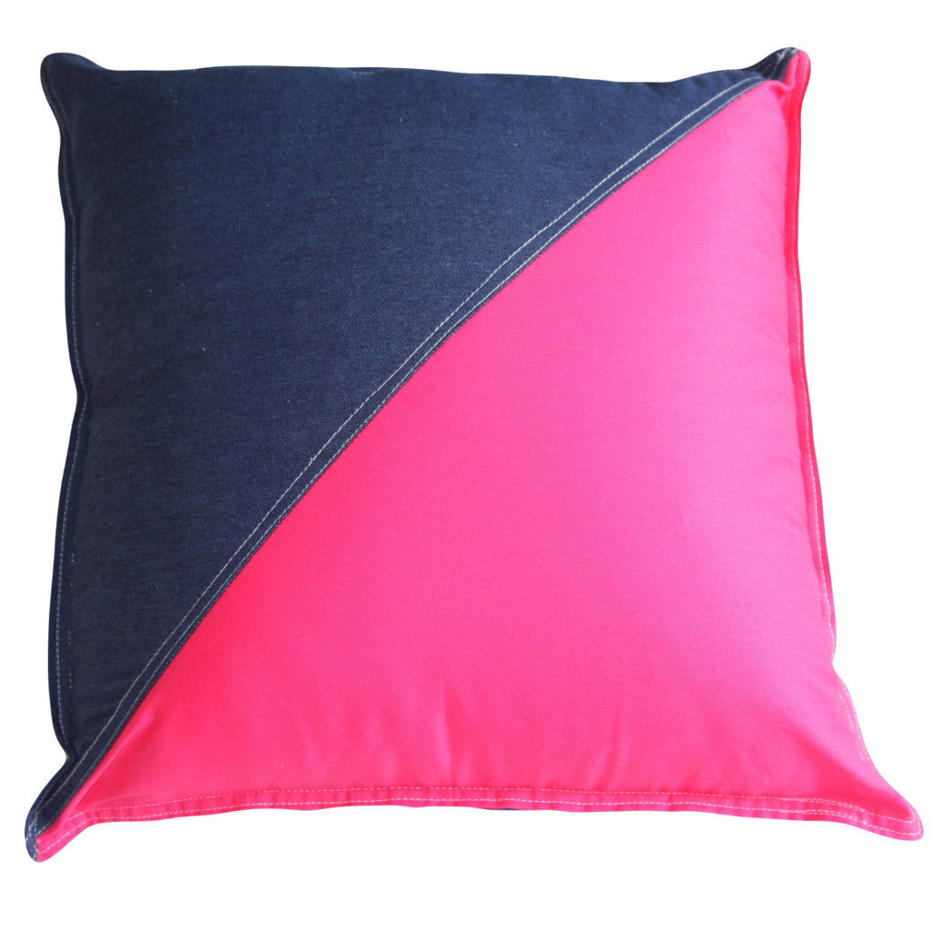 Cushion Denim & Pink Triangle - Maissone