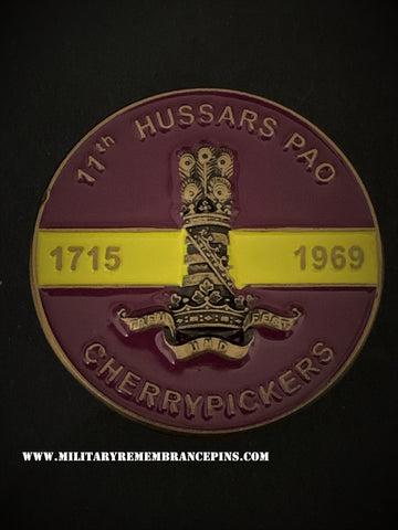 11th Hussars PAO Regimental Colours Lapel Pin