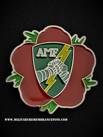 Allied Mobile Force AMF Remembrance Flower Lapel Pin