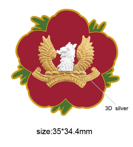 Ayrshire Earl of Carrick's Own Yeomanry Remembrance Flower Lapel Pin