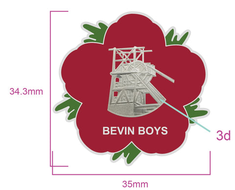 Bevin Boys Miners Remembrance Flower Lapel Pin