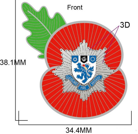 Cleveland Fire Service Remembrance Poppy Pin