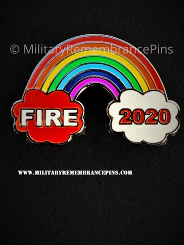 Fire Fighters Fire Service Rainbow 2020 Support Lapel Pin