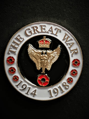 The Great War 1914-1918 Angel Soldier Round Lapel Pin