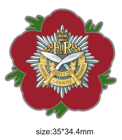 10 Queen's Own Gurkha Logistic Regiment RLC Remembrance Flower Lapel Pin