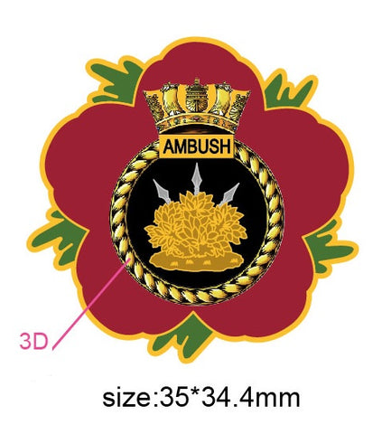 HMS Ambush Royal Navy Remembrance Flower Lapel Pin