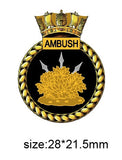 HMS Ambush Royal Navy Ships Crest Lapel Pin