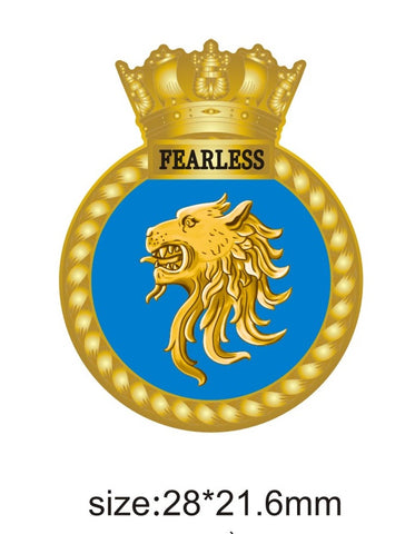 HMS Fearless Royal Navy Amphibious Assault Ship Crest Lapel Pin