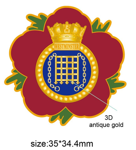 HMS Westminster Royal Navy Remembrance Flower Lapel Pin