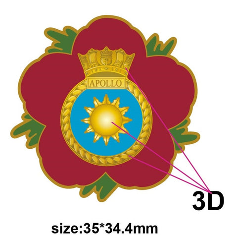 HMS Apollo Royal Navy Remembrance Flower Lapel Pin