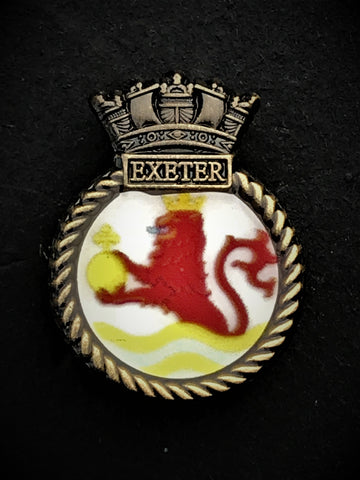 HMS Exeter Royal Navy Ships Crest Lapel Pin