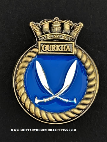 HMS Gurkha Royal Navy Ships Crest Lapel Pin