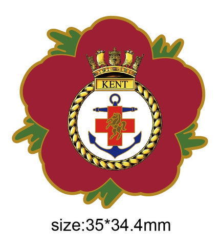HMS Kent Royal Navy Remembrance Flowe Pin
