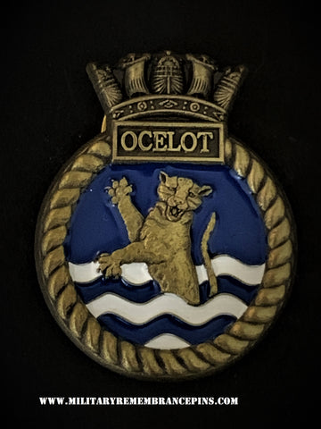 HMS Ocelot Royal Navy Ship Crest Lapel Pin