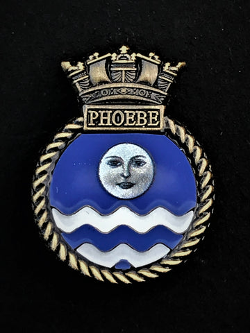 HMS Phoebe Royal Navy Ship Crest Lapel Pin