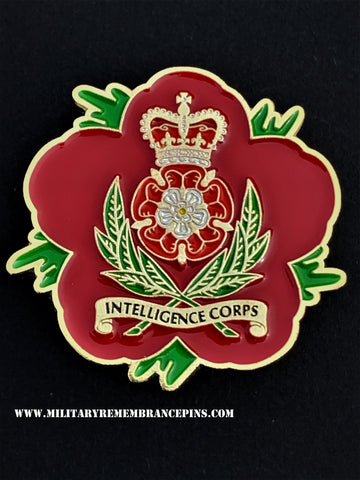 Intelligence Corps Remembrance Flower Lapel Pin