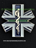 Medical Cross Thin Green Line Colours Lapel Pin