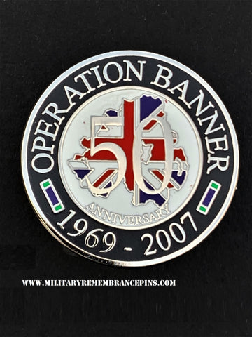 Operation Banner 50 Year Anniversary Round Lapel Pin