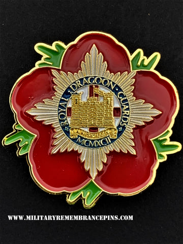 Royal Dragoon Guards RDG Remembrance Flower Lapel Pin