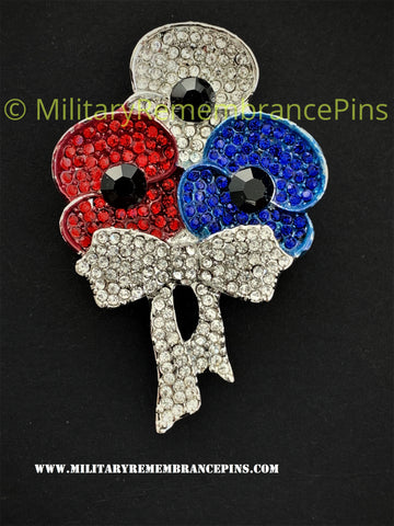 Red White & Blue 3 Flower Remembrance Lapel Pin