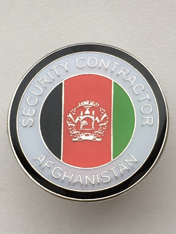 Security Contractor Afghanistan Round Lapel Pin