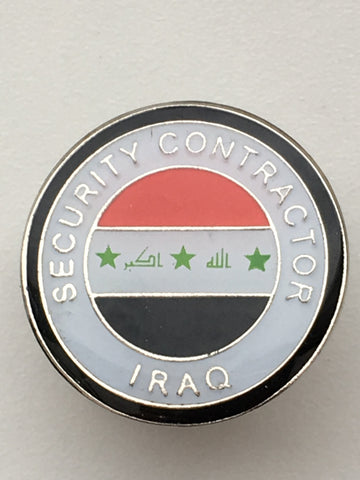 Security Contractor Iraq Round Lapel Pin